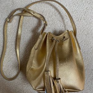 J Crew Gold Leather Bucket Bag